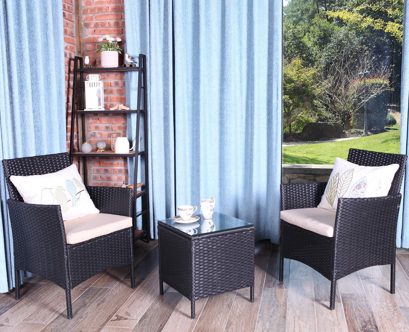 UFI Outdoor Bistro Set 3 Piece Rattan Chair Wicker Set, Use Backyard Porch Garden Poolside Balcony RTA Furniture,Black