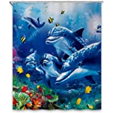 "Chunyi Blue Sea World Coral Dolphin Printed Waterproof Shower Curtain Liners 7272"""