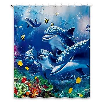 Chunyi Blue Sea World Coral Dolphin Printed Waterproof Shower Curtain  Liners 72x72u0026quot;