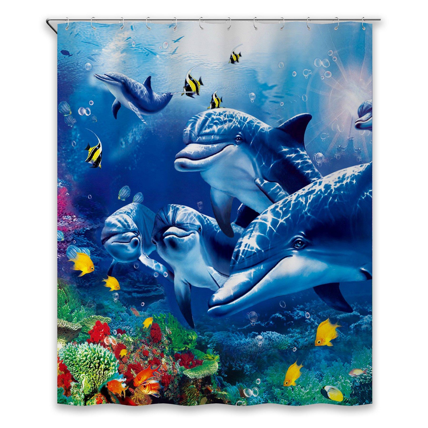 Chunyi Blue Sea World Coral Dolphin Printed Waterproof Shower Curtain Liners 72x72