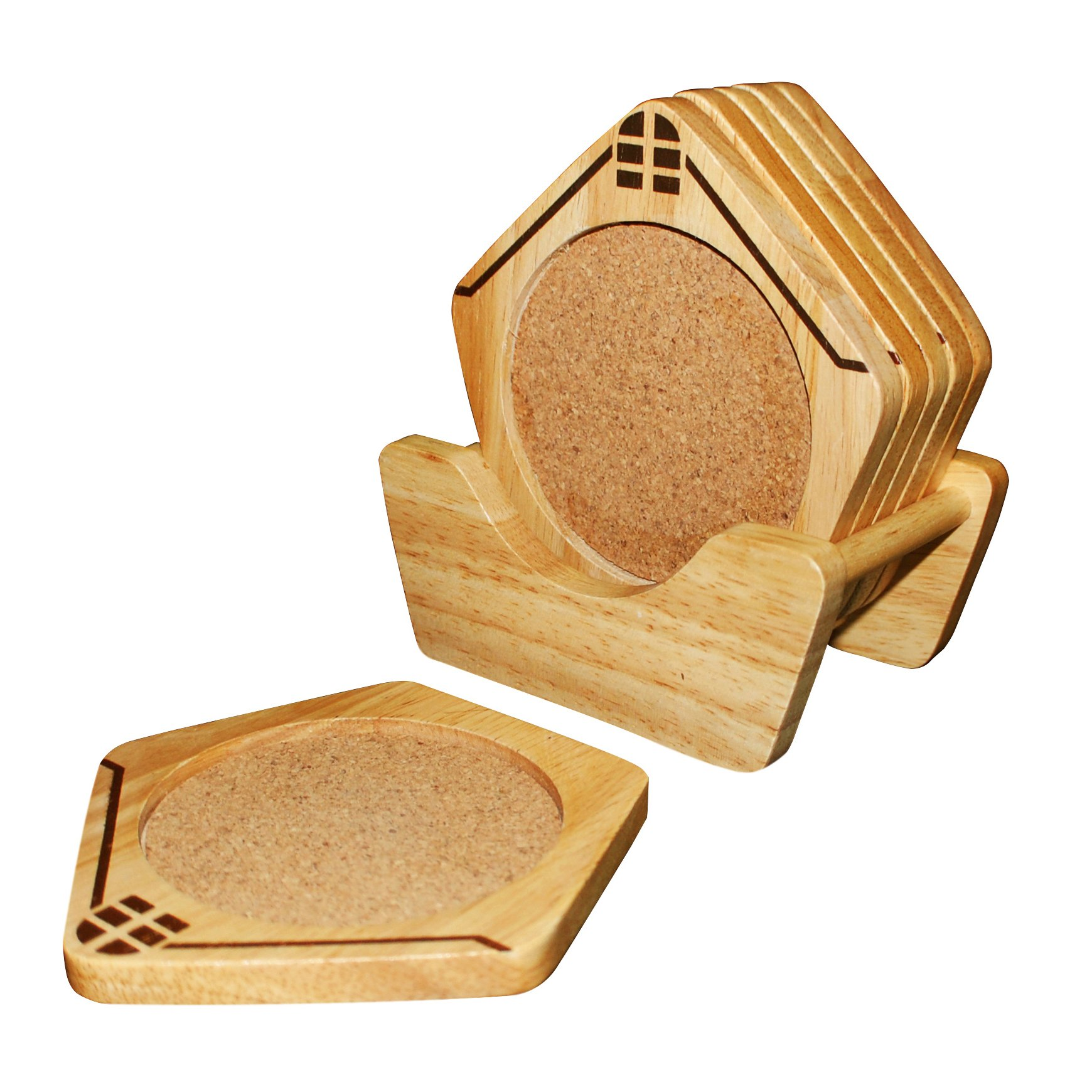 NOCNDEAL Wooden Coasters House Shaped With Holder Set of 6 - Protect Your Furniture from Stains and Moisture - Great Gift Idea - Great Decor Idea - Order Now