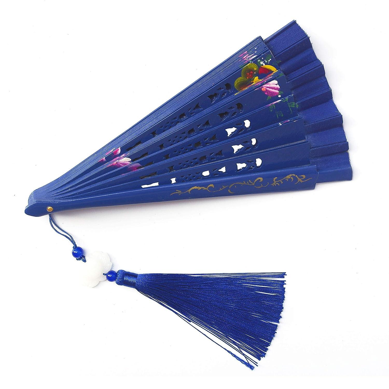 23cm Fan Shaped Jade Pendant Ryumei 9.06 Blue Womens Clothing Womens Best Gift Chinese//Japanese Style Charming Elegant Retro Style Portable Bamboo Folding Fan Portable Fan