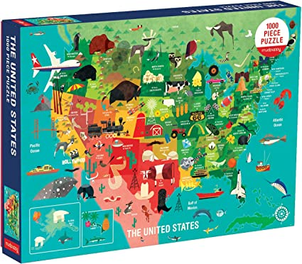 United States of America Map 1000 Piece Jigsaw Puzzle Highways Rivers State