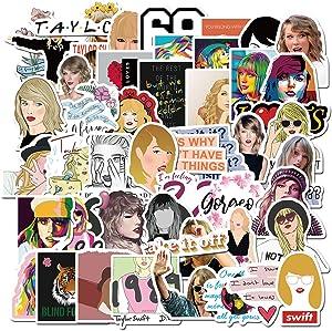 50Pcs Female Pop Singer Taylor Swift Stickers DIY Skateboard Laptop Guitar Refrigerator Scrapbook Car Toys Decal Stickers (Taylor Swift)