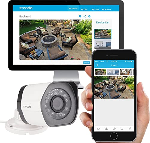 Zmodo Smart PoE Security System – 8 Channel NVR 4 x 720p Outdoor Bullet and 4 x Indoor Dome Cameras and 2TB Hard Drive