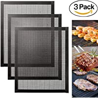 MojiDecor BBQ Grill Mat Set of 3 for Grilling and Baking, Grill & Bake Mats, Non Stick BBQ and Baking Mat Reusable PFOA Free, Grilling Mesh Heat Resistant Up to 500F (260 ℃)