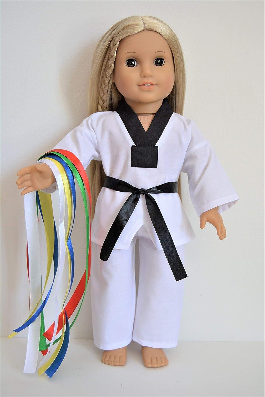 Handmade Doll Clothes White Taekwondo Uniform TKD fit 18 American Girl 6 Belts