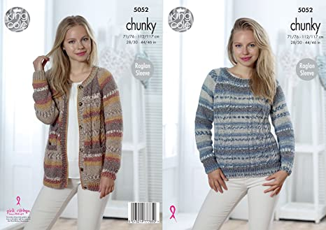 096de5146cb0 Image Unavailable. Image not available for. Colour  King Cole Ladies Chunky  Knitting Pattern Raglan Sleeve Cable Knit Cardigan   Sweater ...