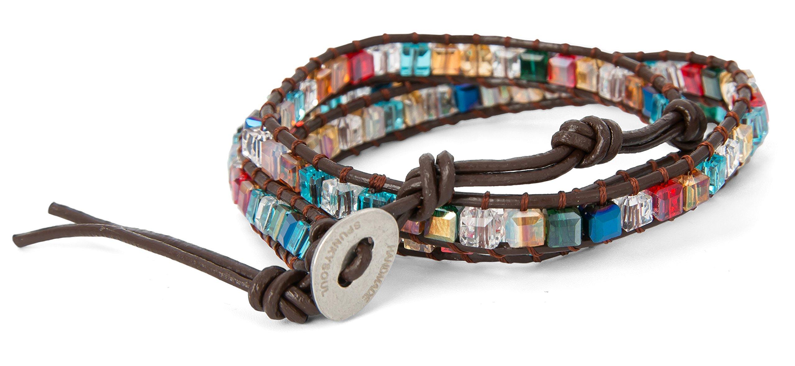 SPUNKYsoul 3 Wrap Dazzling Multi Color Crystal Leather Bracelet Collection by SPUNKYsoul (Image #4)