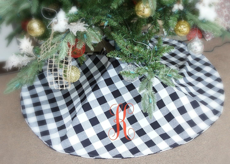 Amazon Buffalo Check Plaid Christmas Tree Skirt Large 58 With Monogram Handmade