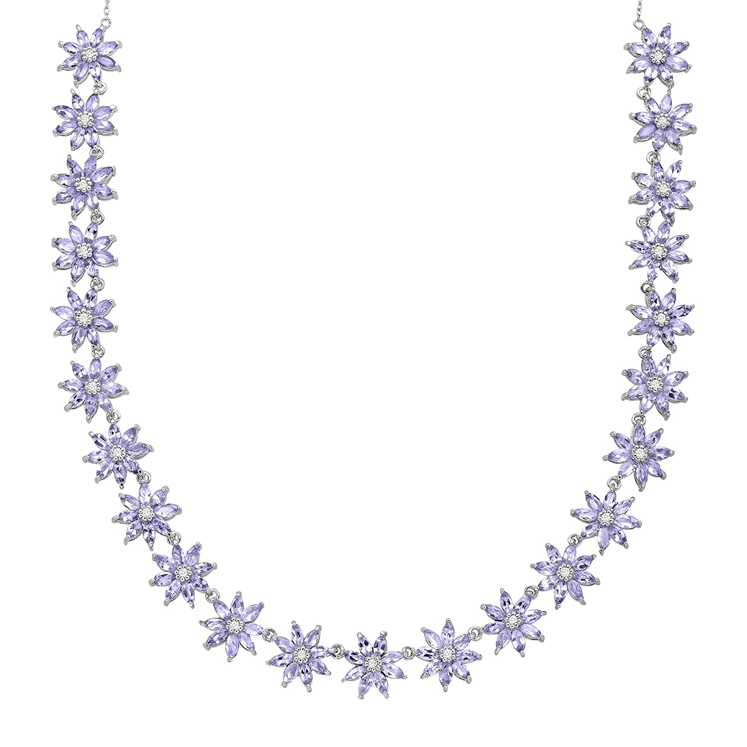 Tanzanite and White Topaz Necklace in Sterling Silver