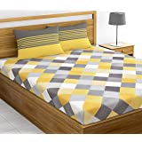 Loreto - A Quality Linen Brand 144 TC 100% Cotton King Bedsheet with 2 Pillow Covers - Multi Colour