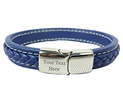 c3ec9413a567a MENS ENGRAVED LEATHER BRACELET – PERSONALISED with GIFT BOXED - 3 COLOURS