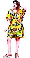 Hastkala Women's Fashion Short Sleeve Casual Solid Short Kaftan Dress