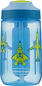 Rubbermaid Leak-Proof Sip Kids Water Bottle, Blue Ice Stick, Jets