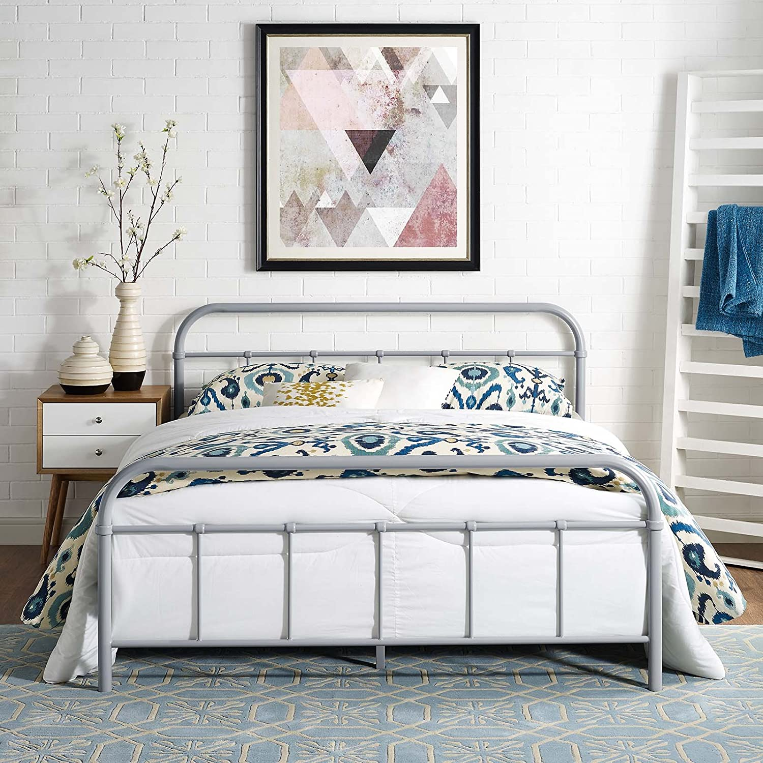 Modway Maisie Steel Metal Farmhouse Platform Queen Bed Frame With Headboard In Gray