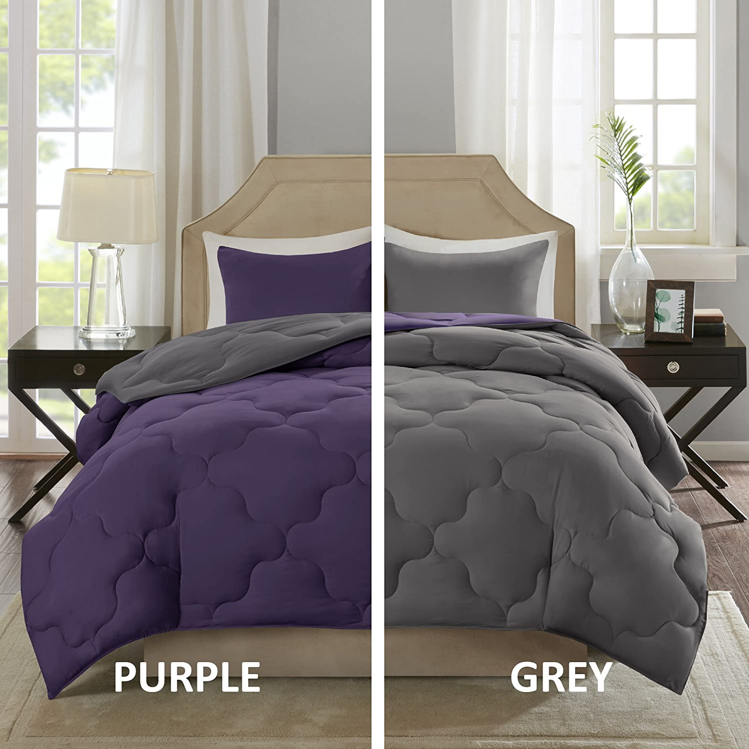 Vixie Reversible Down Alternative Comforter Mini Set - 3 Piece – Purple and Charcoal