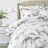 Pinzon Signature 190-Gram Cotton Heavyweight Velvet Flannel Duvet Set - Full/Queen, Floral Graphite