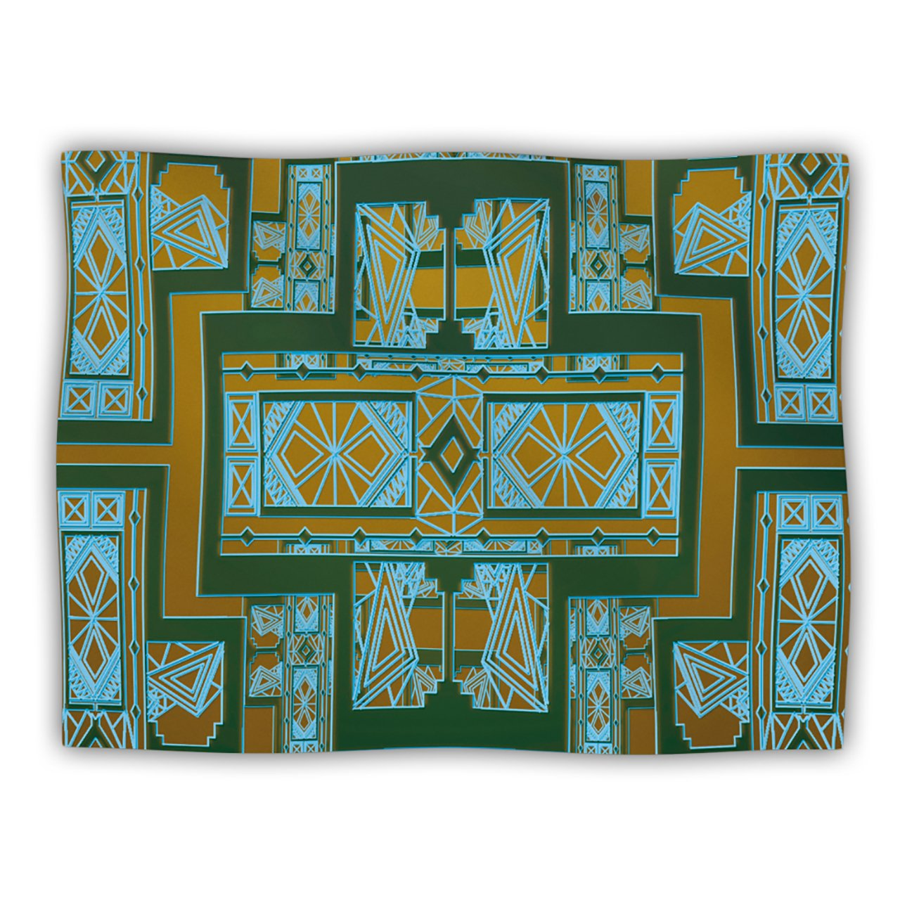 Kess InHouse Nika Martinez golden Art Deco Green and bluee  Pet Dog Blanket, 60 by 50-Inch