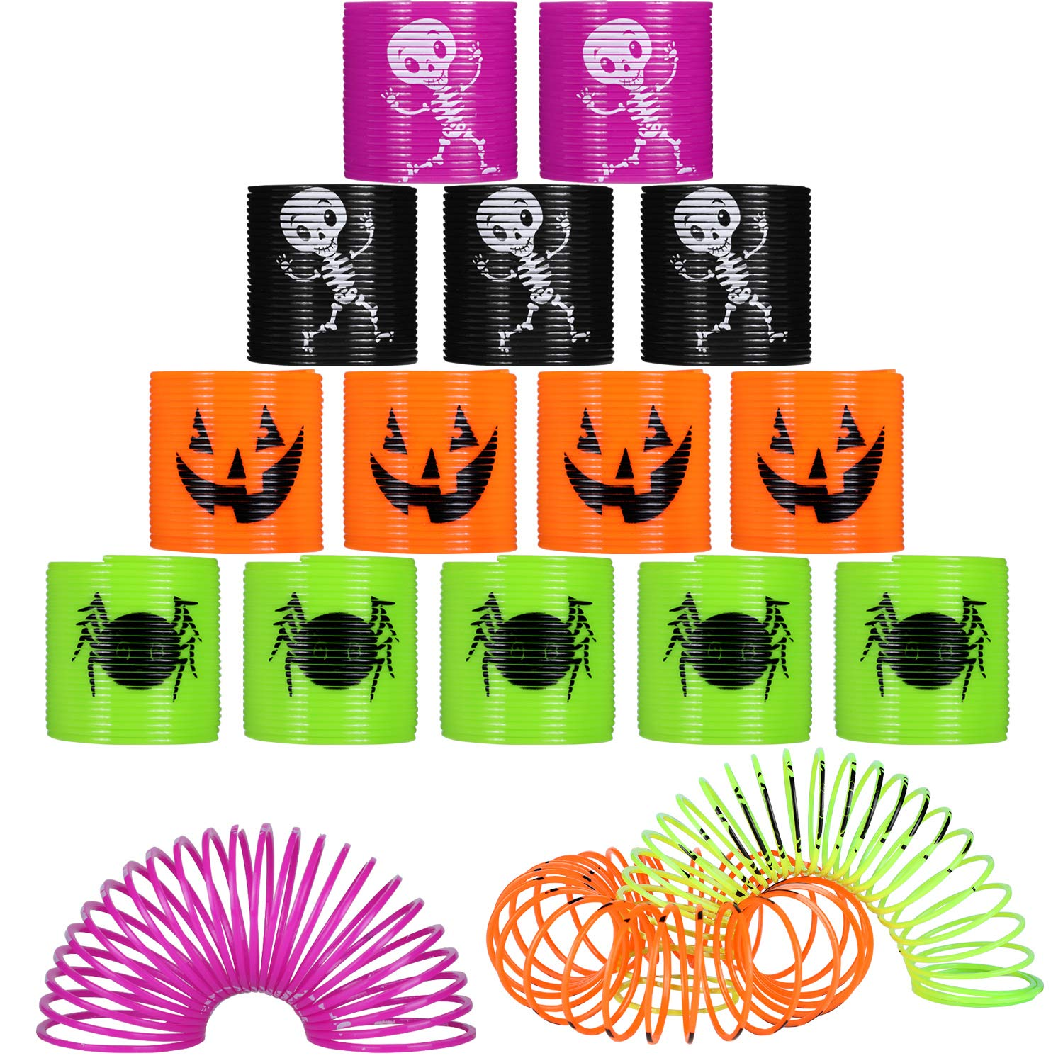 48 Pieces Mini Halloween Magic Springs Colorful Plastic Springs Pumpkin Skeleton Spider Print Toys for Party Supplies by Gejoy