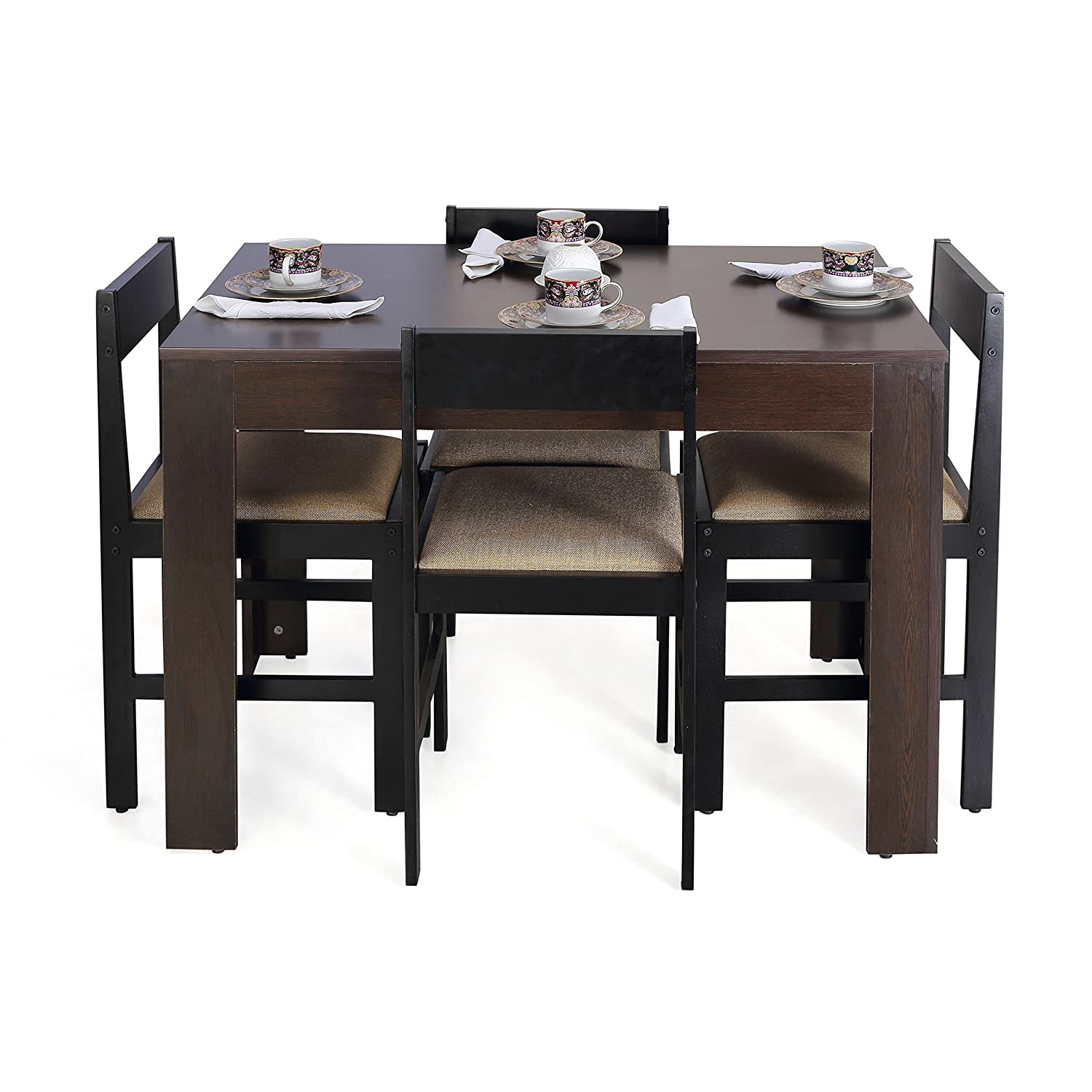 Dining Table Set 4 Seater Part - 35: Forzza Peter Four Seater Rectangular Dining Table Set (Wenge): Amazon.in:  Home U0026 Kitchen