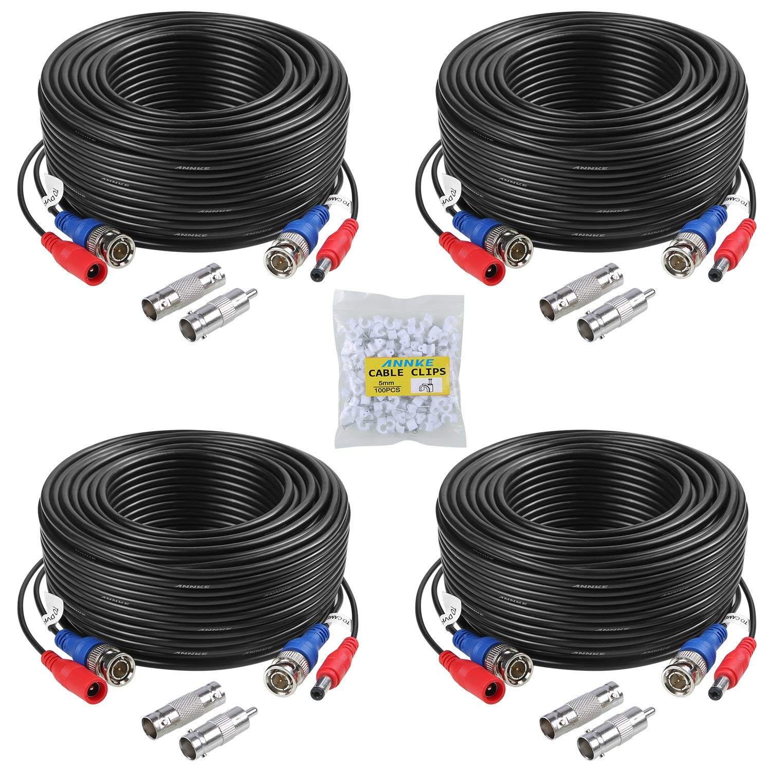 ANNKE 100 Feet (30 meters) 2-In-1 Video/Power Cable with BNC Connectors and RCA Adapters for Video Security Systems (4-Pack, Black) by ANNKE