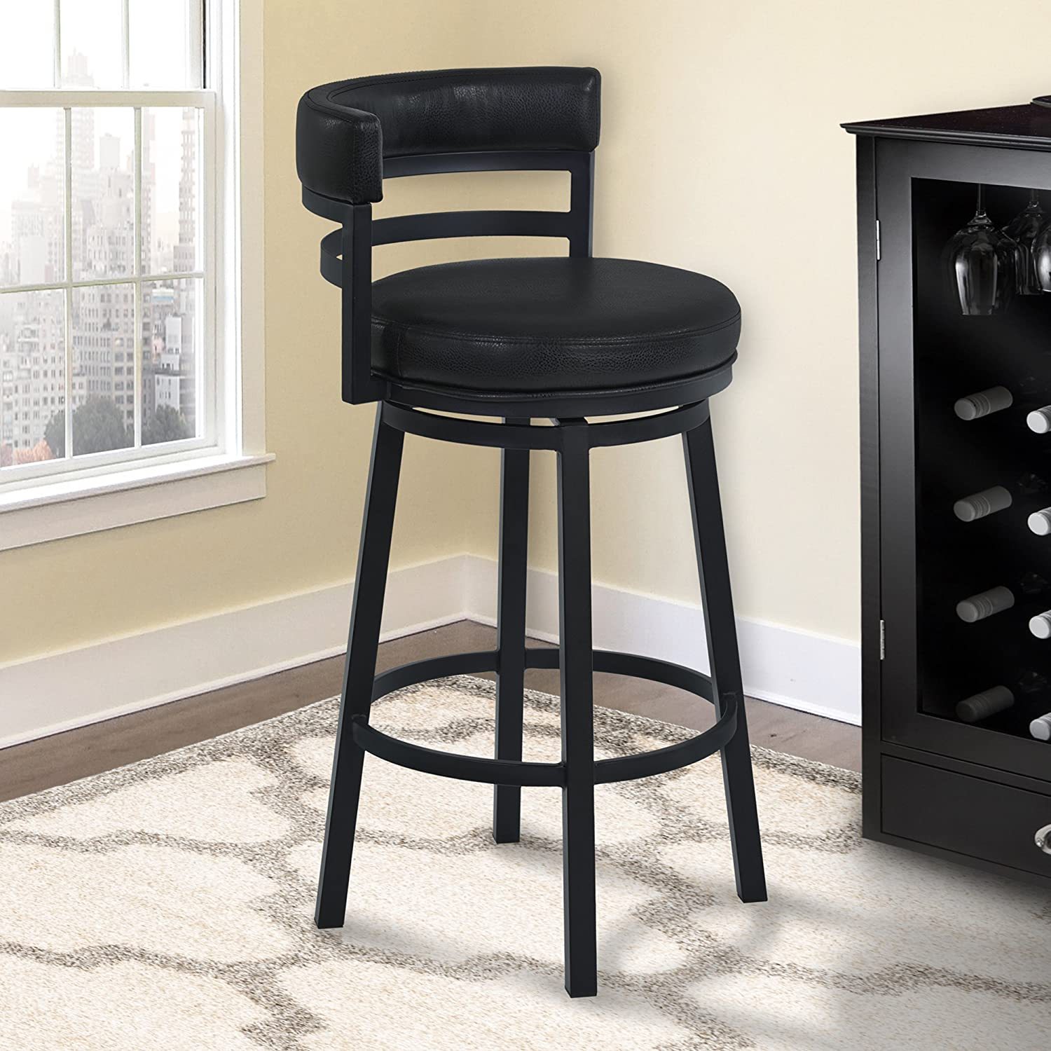 """Armen Living LCMABABLBL26 Madrid 26"""" Counter Height Swivel Barstool in Ford Black Faux Leather and Black Metal Finish"""