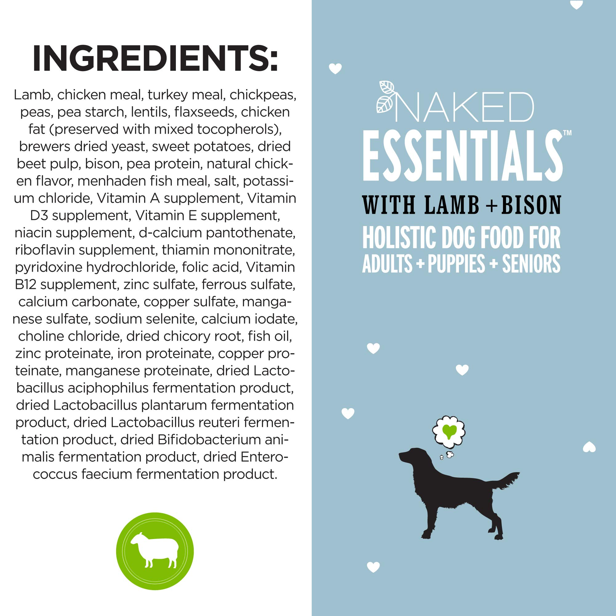 ''I and love and you'' Naked Essentials Lamb & Bison Grain Free Dry Dog Food, 40 LB by I and love and you (Image #6)