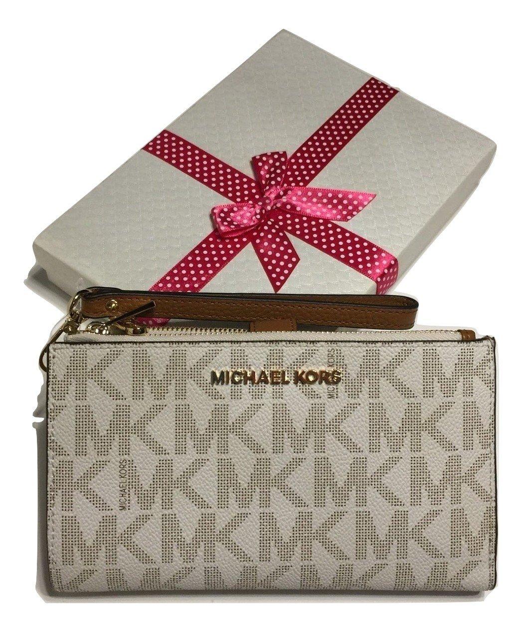MICHAEL Michael Kors Jet Set Travel Double Zip Wallet Wristlet (Signature MK Vanilla/Acorn)