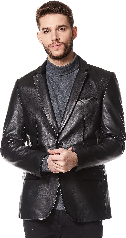 Smart Range Chaqueta de Cuero Real Classic para Hombre Blazer Chaqueta de Cuero Negro Suave Z-120