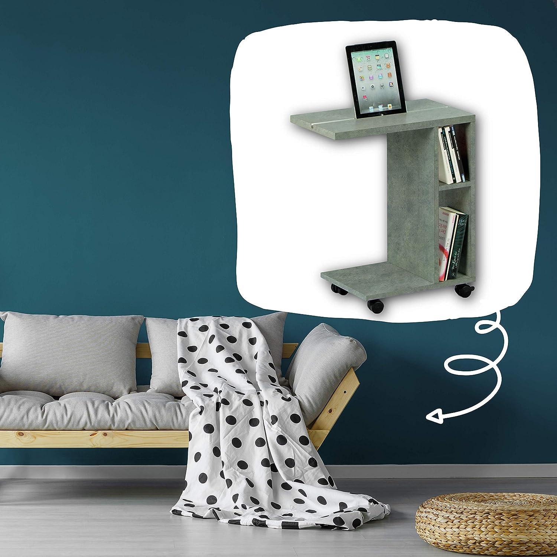 materiale a base di legno Tavolino da salotto mobile con pratica guida per tablet e scaffale per la vostra casa bianco Stella Trading LATINO Moderno ruote 50 x 60 x 30 cm