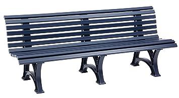 Sitzbank / Gartenbank 4 Sitzer: Borkum, Länge 200cm, Blau (hochwertiger  Kunststoff