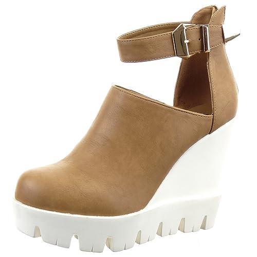 Sopily - Zapatillas de Moda Botines Abierto Zapatillas de plataforma Tobillo mujer Hebilla Talón Plataforma 11.5 CM - Camel WL-122-5 T 41: Amazon.es: ...