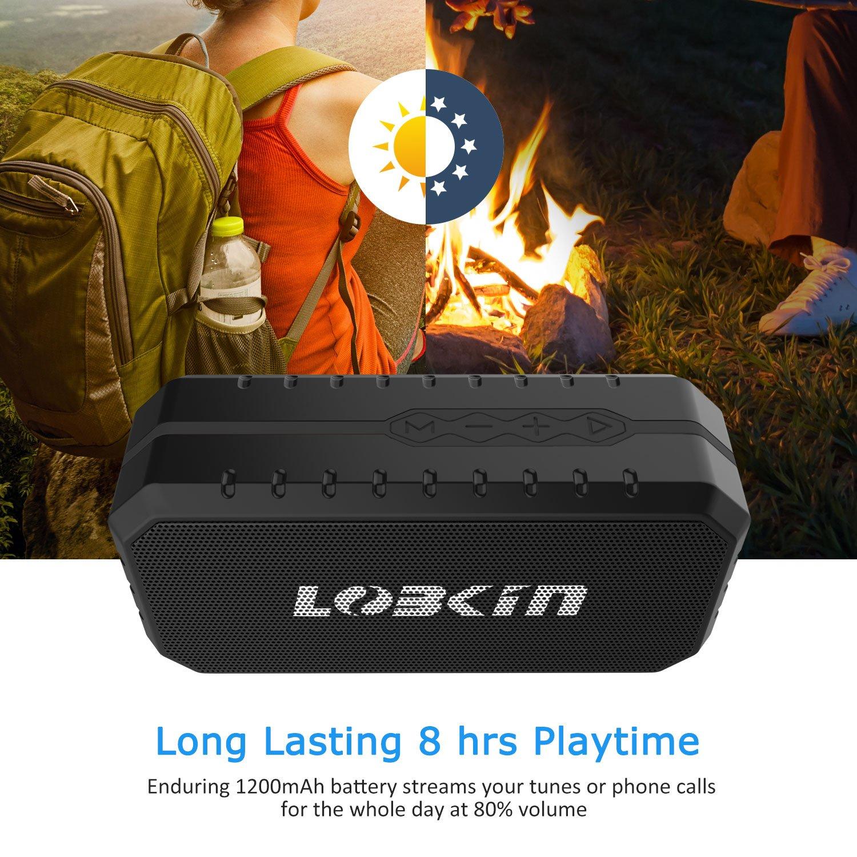 Lobkin Outdoor Bluetooth Speaker,Portable Wireless Speaker, Waterproof, Dustproof, Shockproof for Indoor and Outdoor Activities - Shower, Pool, Beach, Car, Home (BLACK)