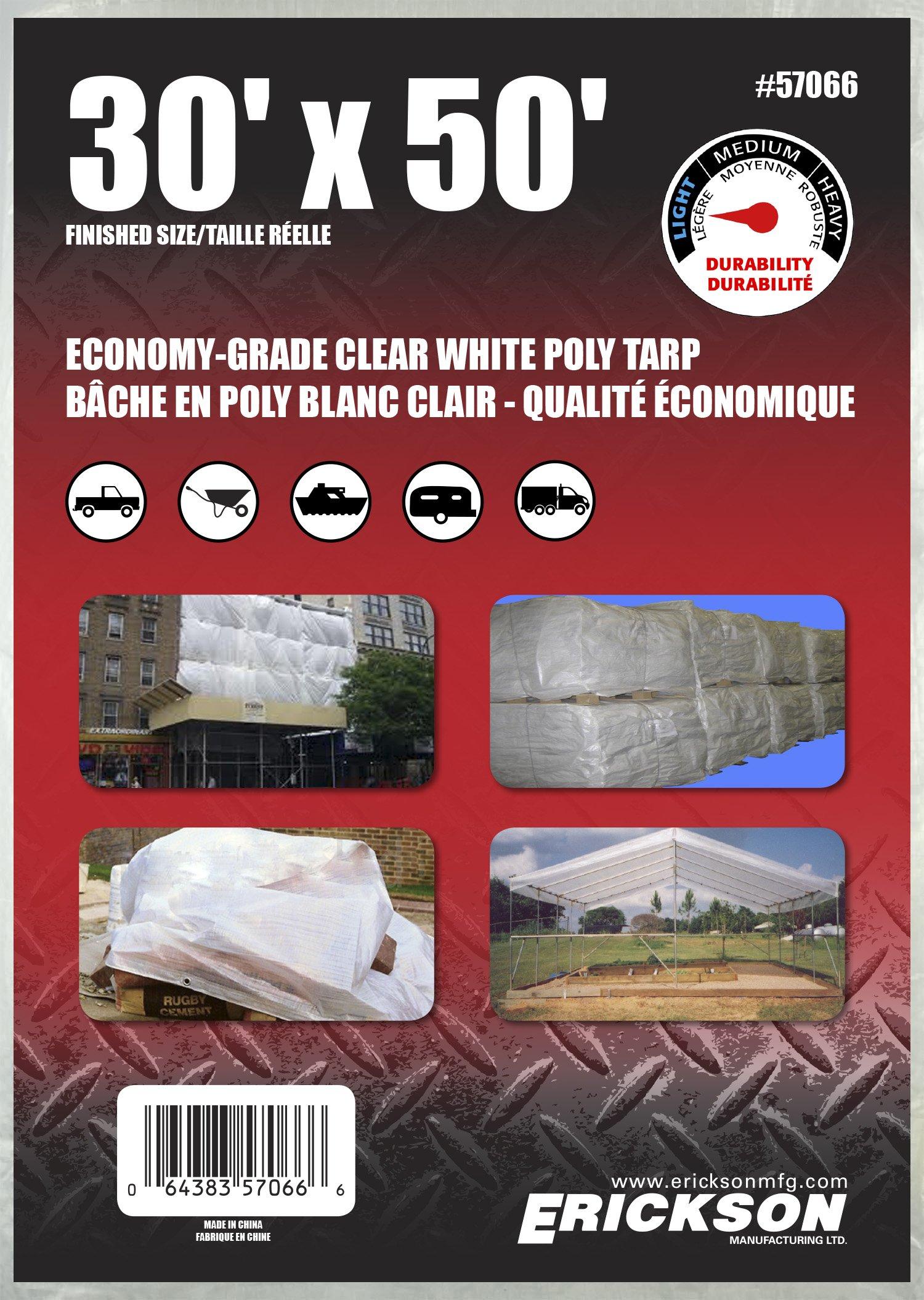 Erickson 57066 Clear White Economy Grade Poly Tarp, 30' x 50', 1 Pack