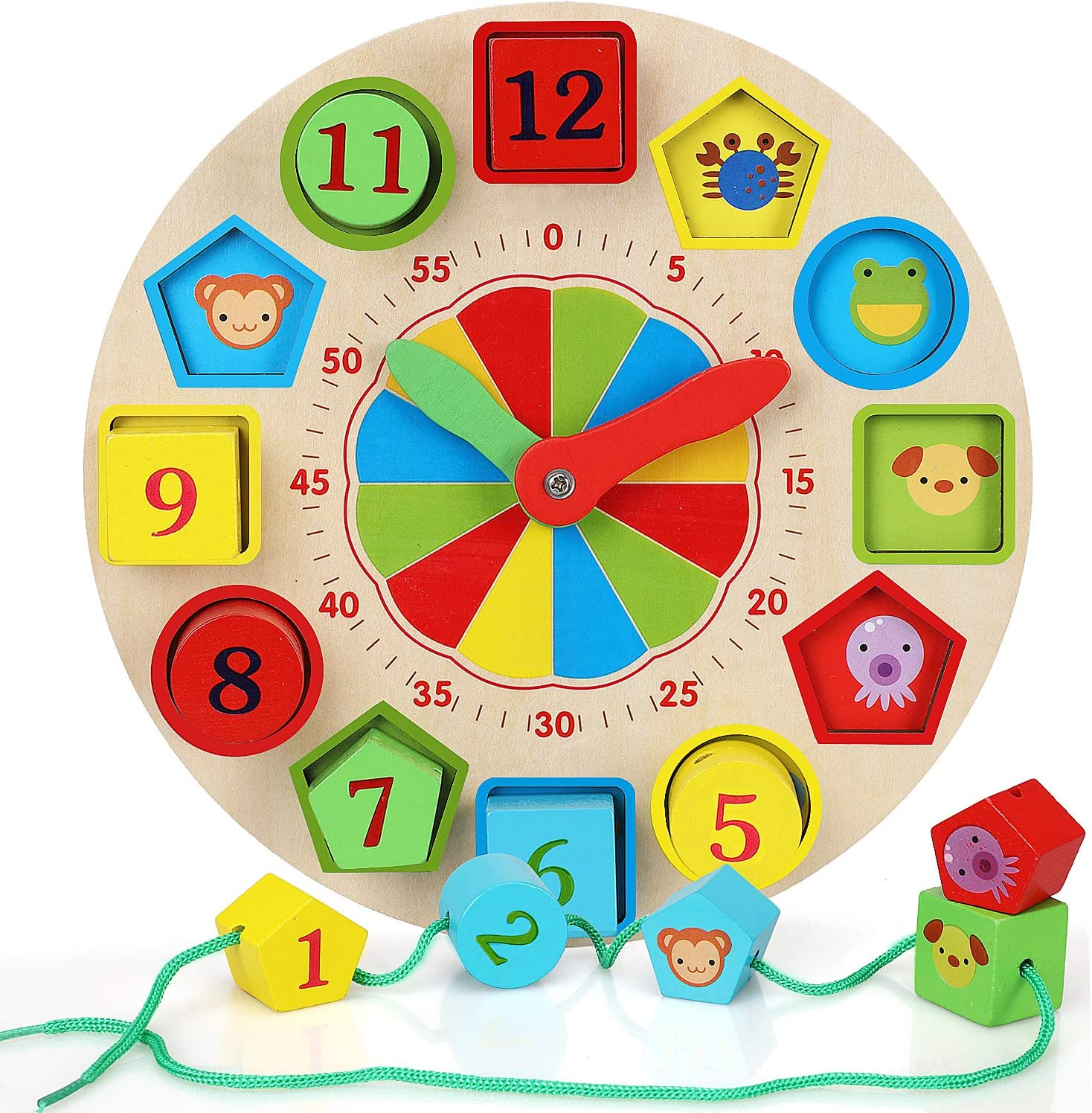 Kids Wood Clock Watches Educational Toy Number Time Learning Shape Sorter Puzzle