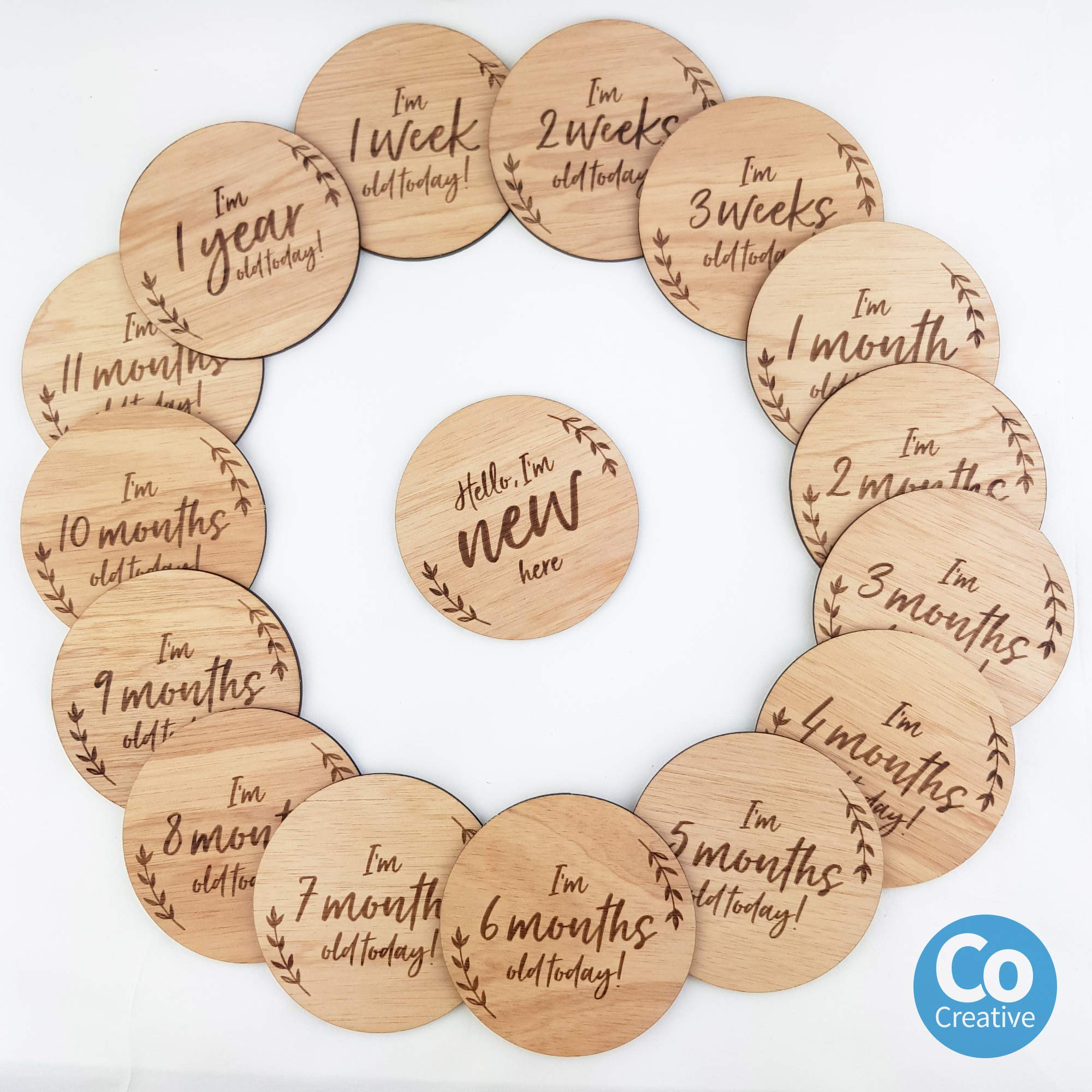 funny supply Milestone Cards Set of 14 Reversible Engraved Wooden Discs Monthly