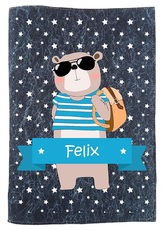 wolga-kreativ Set U-Heft Hülle cooler Bär mit Name Untersuchungshefthülle Umschlag Filz Filzhülle Wollfilz (anthrazit)