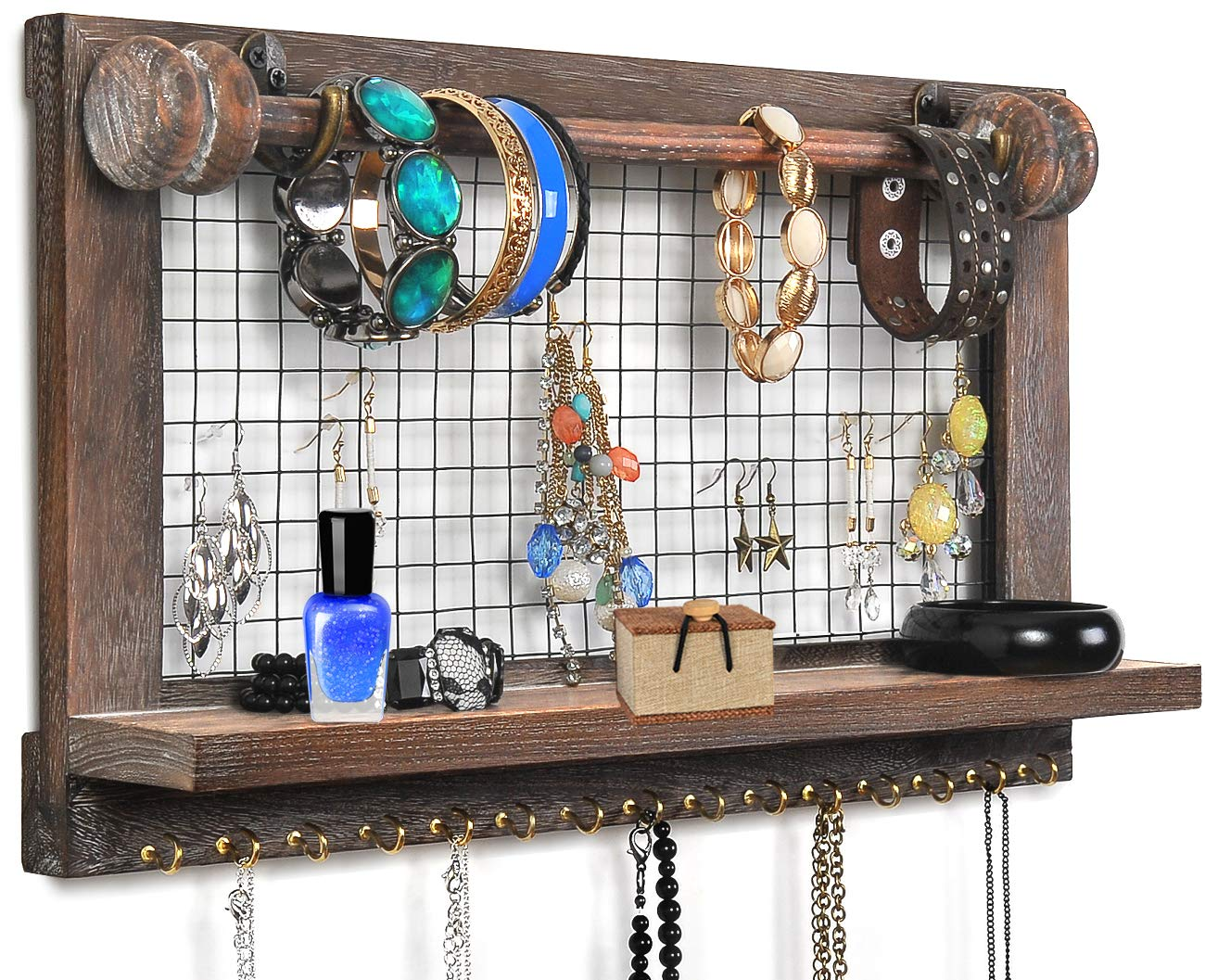 VIEFIN Rustic Wall Mounted Mesh Jewelry Organizer, Wood Shabby Chic Earring Holder with Shelf, Hanging Hook for Necklace, Removable Rod for Bracelet