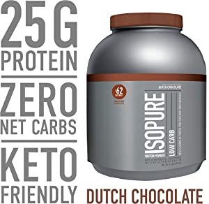 Isopure Low Carb, Keto Friendly Protein Powder, 100% Whey Protein Isolate, Flavor: Dutch Chocolate, 4.5 Pounds