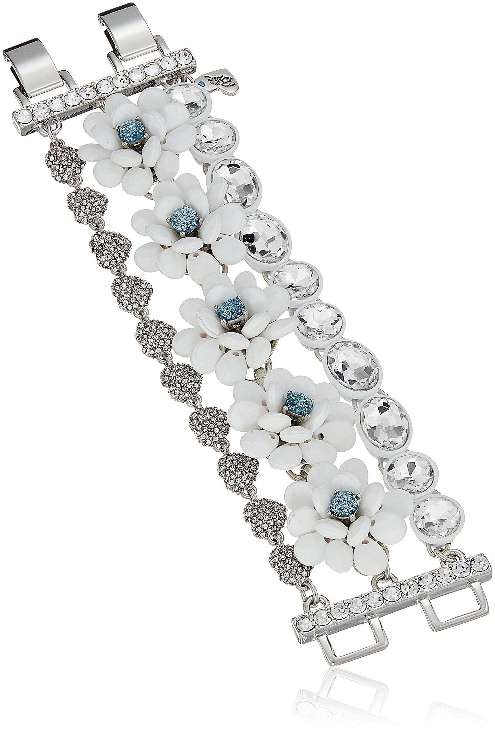 Betsey Johnson Women's Blue La La Flower Multi Row Bracelet