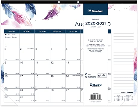 Amazon.: Blueline Colorful Academic Monthly Desk Pad, August