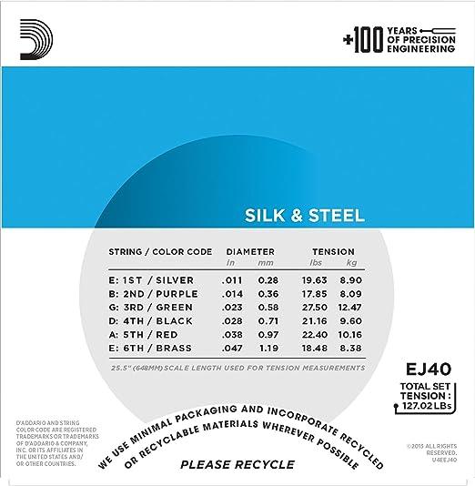 Amazon.com: D'Addario EJ40 Silk & Steel Folk Guitar Strings, 11-47 ...