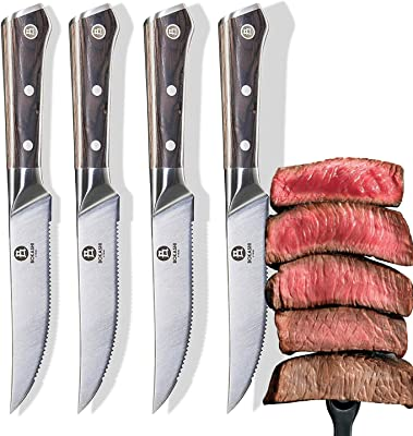 BOKASHI STEEL Set of 4 Serrated Steak Knives - KASAI Series