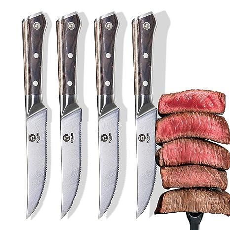 BOKASHI STEEL - Juego de 4 cuchillos para carne (acero al ...