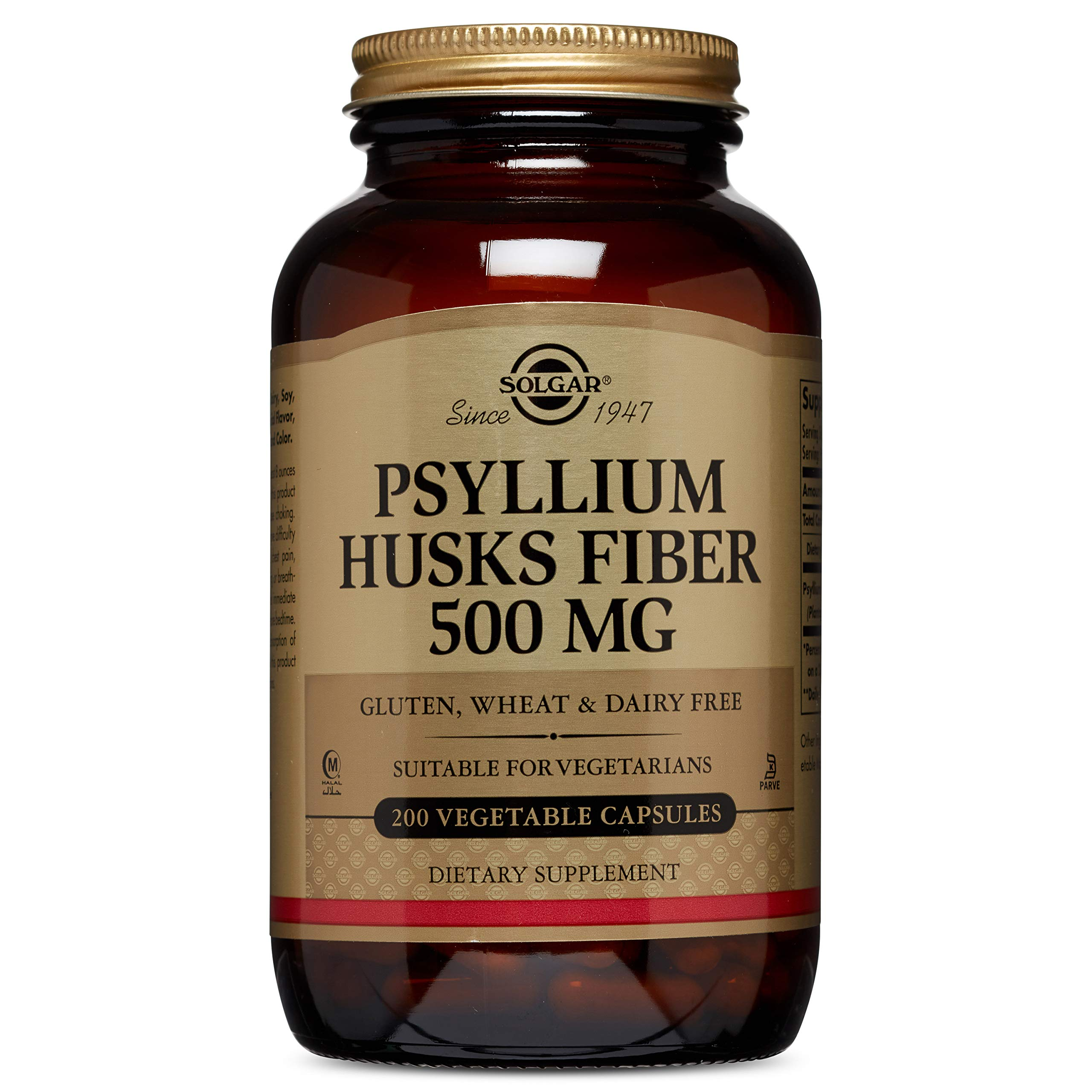Solgar - Psyllium Husks Fiber 500 mg, 200 Vegetable Capsules by Solgar