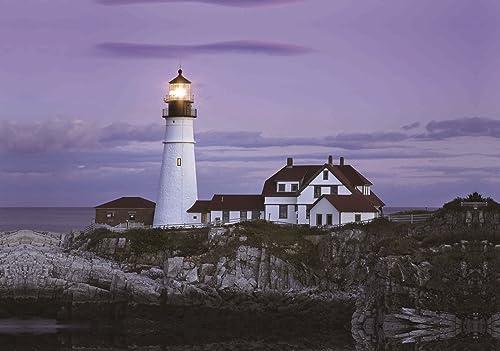 LED Lighted Coastal Lighthouse Home with Sunset Canvas Wall Art 15.75 x 23.5