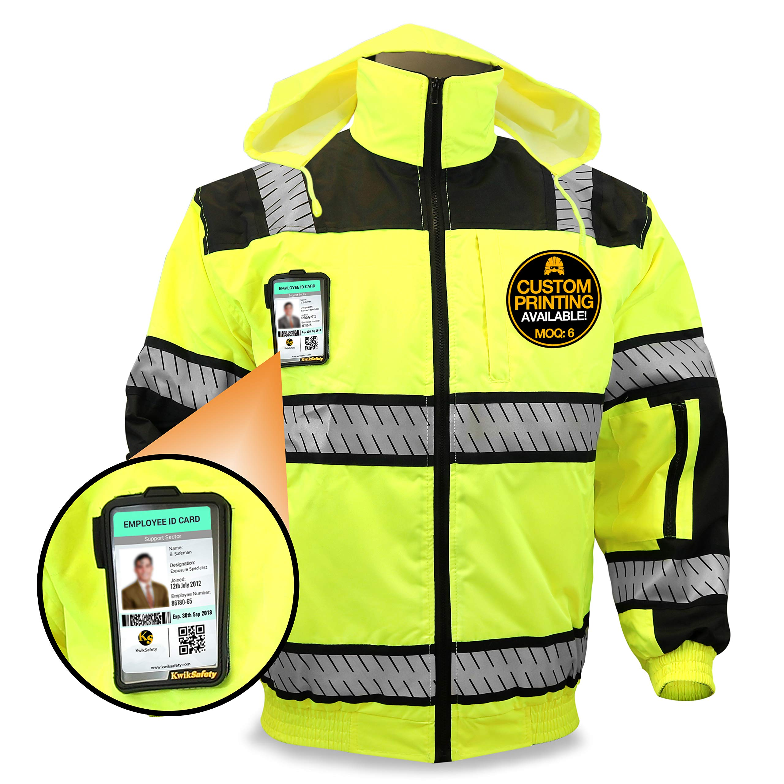 KwikSafety ENFORCER | Class 3 Safety Bomber Jacket | 360° High Visibility ANSI Compliant OSHA Approved | Detachable Chest iPocket Foldable Hoodie Thermal Lining Construction Work Wear | X-Large