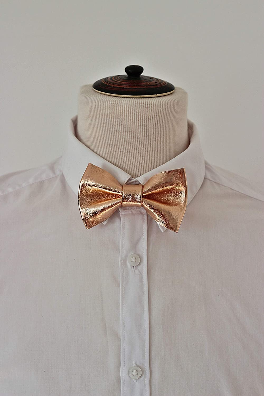 wedding boys Rose gold bow tie for men prom pretied genuine leather bowtie