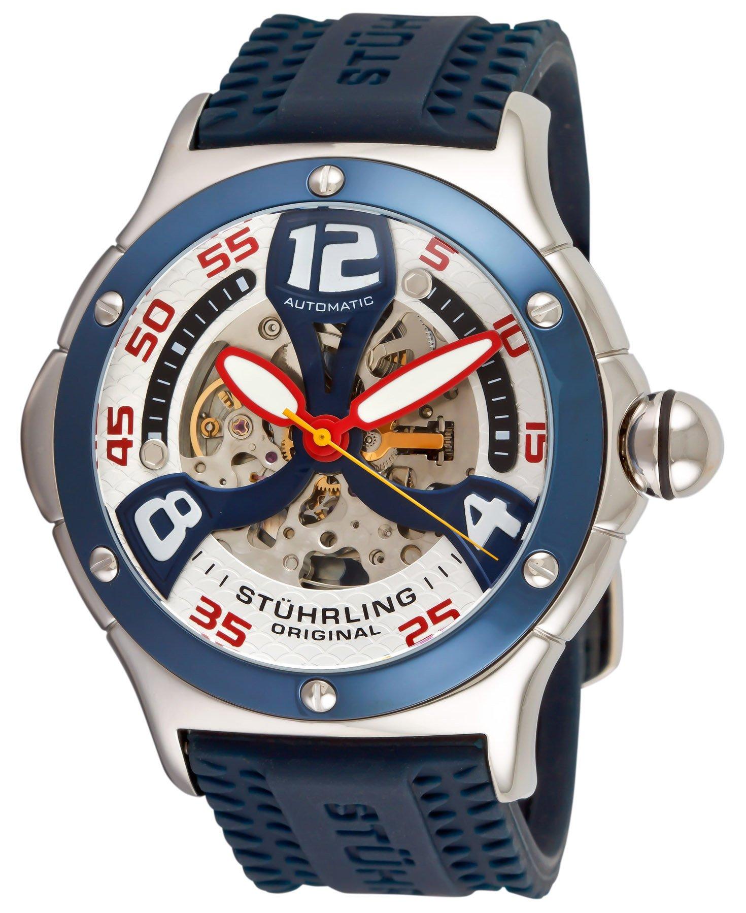 Stuhrling Original Men's 4ATXL.332U6C6 Champion Alpine Extreme Automatic Skeleton Blue Rubber Strap Watch by Stuhrling Original